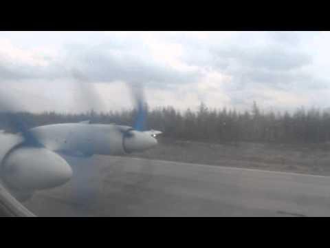 Air Koryo Ilyushin IL-18 Landing at Samjiyon - Window View