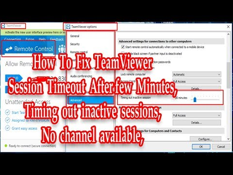 TeamViewer session timeout After few Minutes, Timing out inactive
