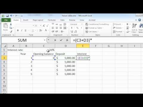 calculating future value on excel