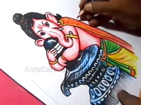 How To Draw Lord Child Ganesha Drawing For Kids Youtube