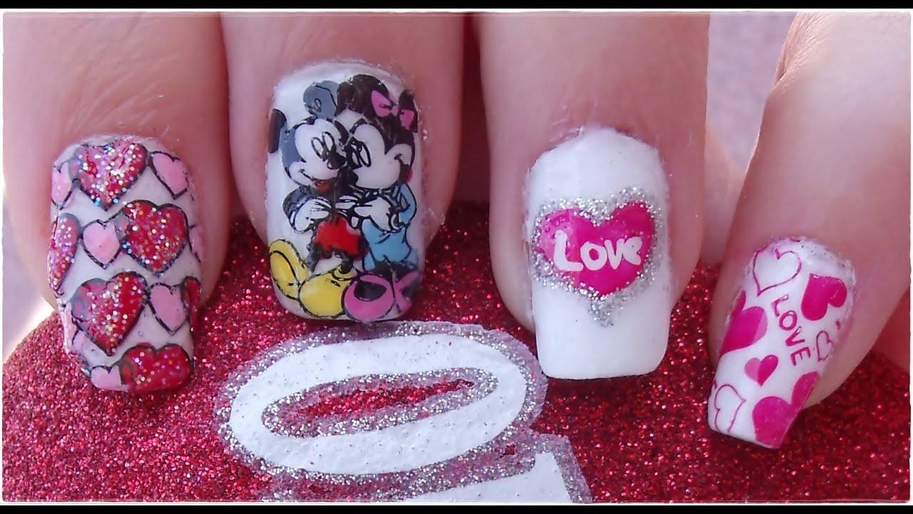 Diseño de Uñas Disney Mickey y Minnie para San Valentín / Nail ...