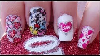 Diseño de Uñas Disney Mickey y Minnie para San Valentín / Nail Design Disney
