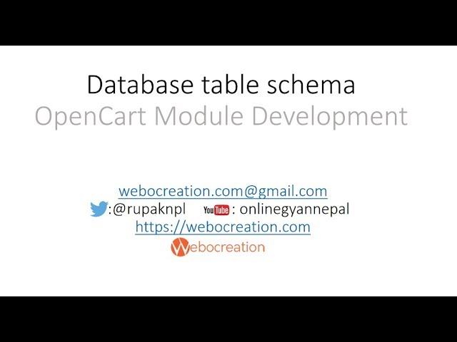 Creating Database Table schema in OpenCart - OpenCart Guide