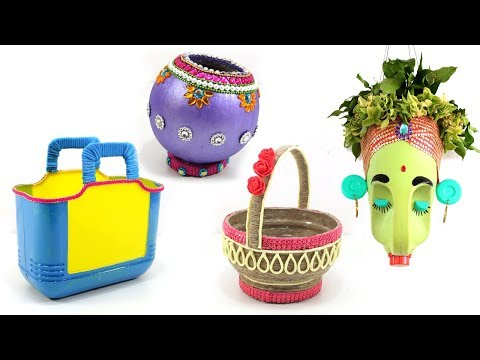 4 USEFUL CRAFTS with WASTE OLD OIL CAN & PLASTIC JAR
