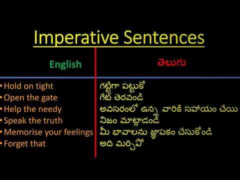 మీరు నేర్చుకోదగిన సులభమైన వాఖ్యాలు|  Imperative Sentences|Spoken English through Telugu
