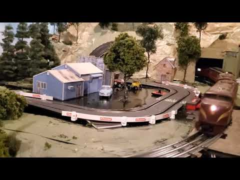 Added Slot Car Track to Lionel O Gauge Train Layout – Carrera Go 1:43 scale; 2 Paper Mache Mountains