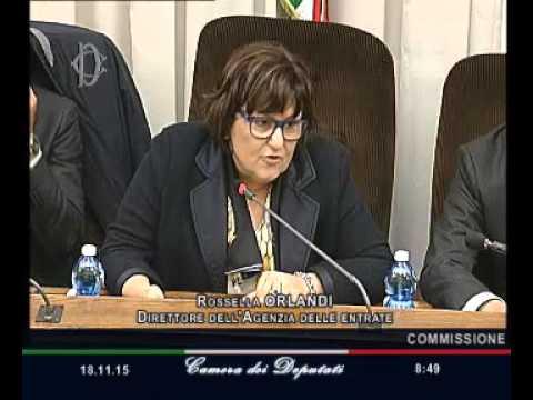 Roma - Audizione del direttore dell'Agenzia delle entrate, Rossella Orlandi (18.11.15)