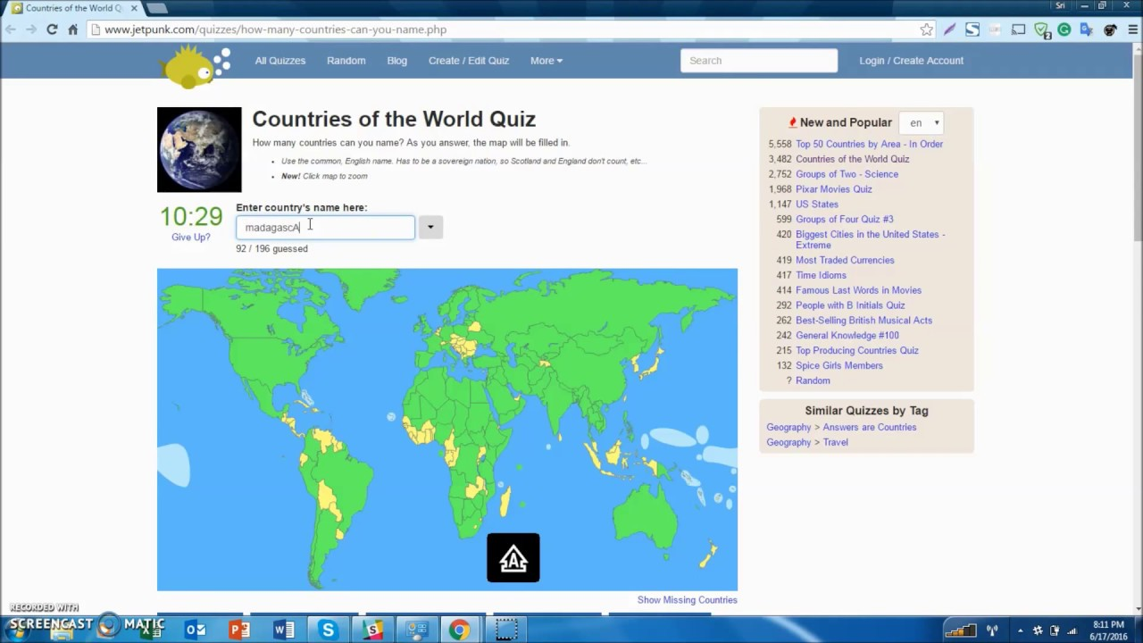 The countries of the world quiz  YouTube