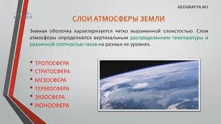 Слои атмосферы Земли. Видеоурок – презентация по географии