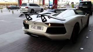 Luxury Cars by Dubai Mall - Lamborghini Aventador - AMG C63