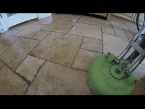 Travertine Stone Amp Grout Cleaning Youtube