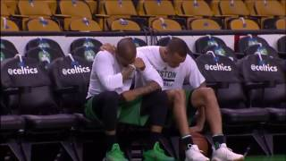 Avery bradley comforts isaiah thomas pregame