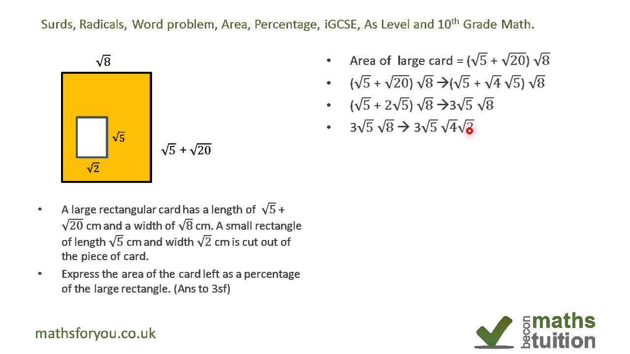 worksheet Word Problem surds radicals word problem area percentage igcse as level and 10th grade math youtube