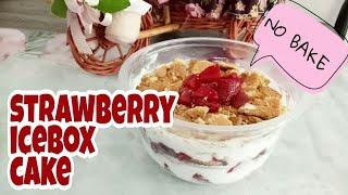 STRAWBERRY ICEBOX CAKE   NO BAKE   RESEP MBUK AL