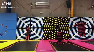 Spider Web Wall With Trampoline Beds