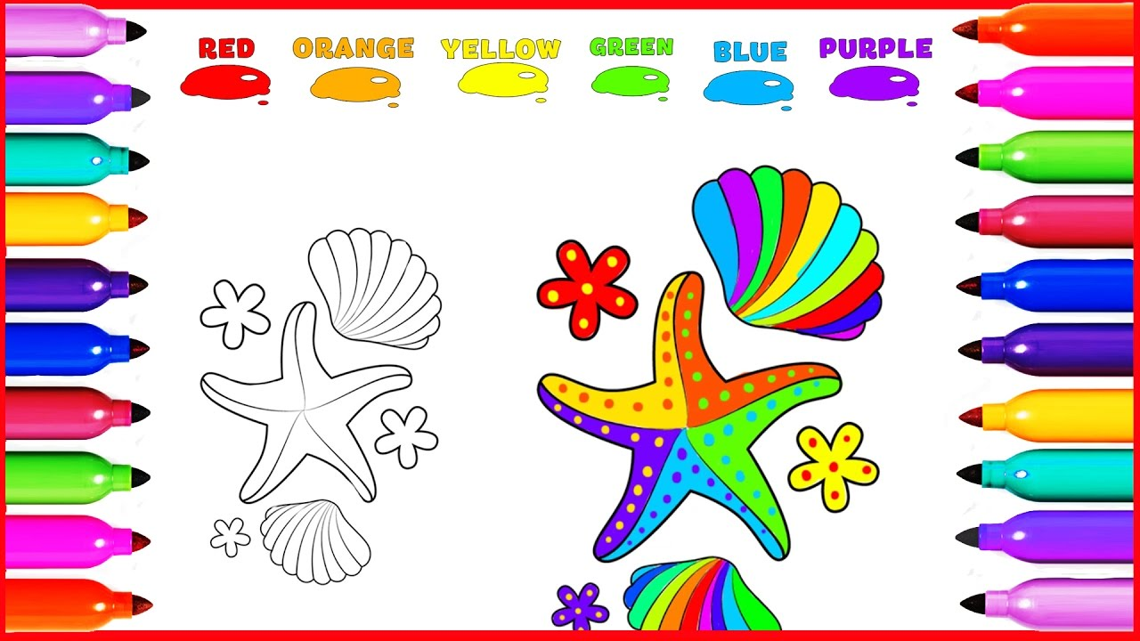 draw coloring starfish sea shell colored for kids learning