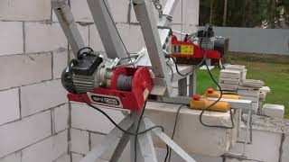 Самодельный подъемный кран для укладки газобетона