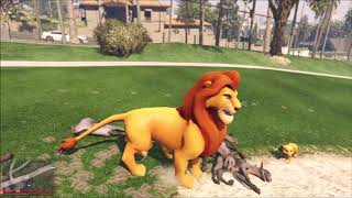 lion and 100 puppies walking in the park
