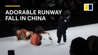 Adorable runway fall at kids fashion show in China warms hearts thumbnail