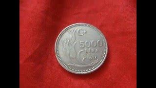 Coin 5000 lira 1992 Turkiye Comhuriyeti Turkish Turkey / монета 5000 турецких лир нумизматика