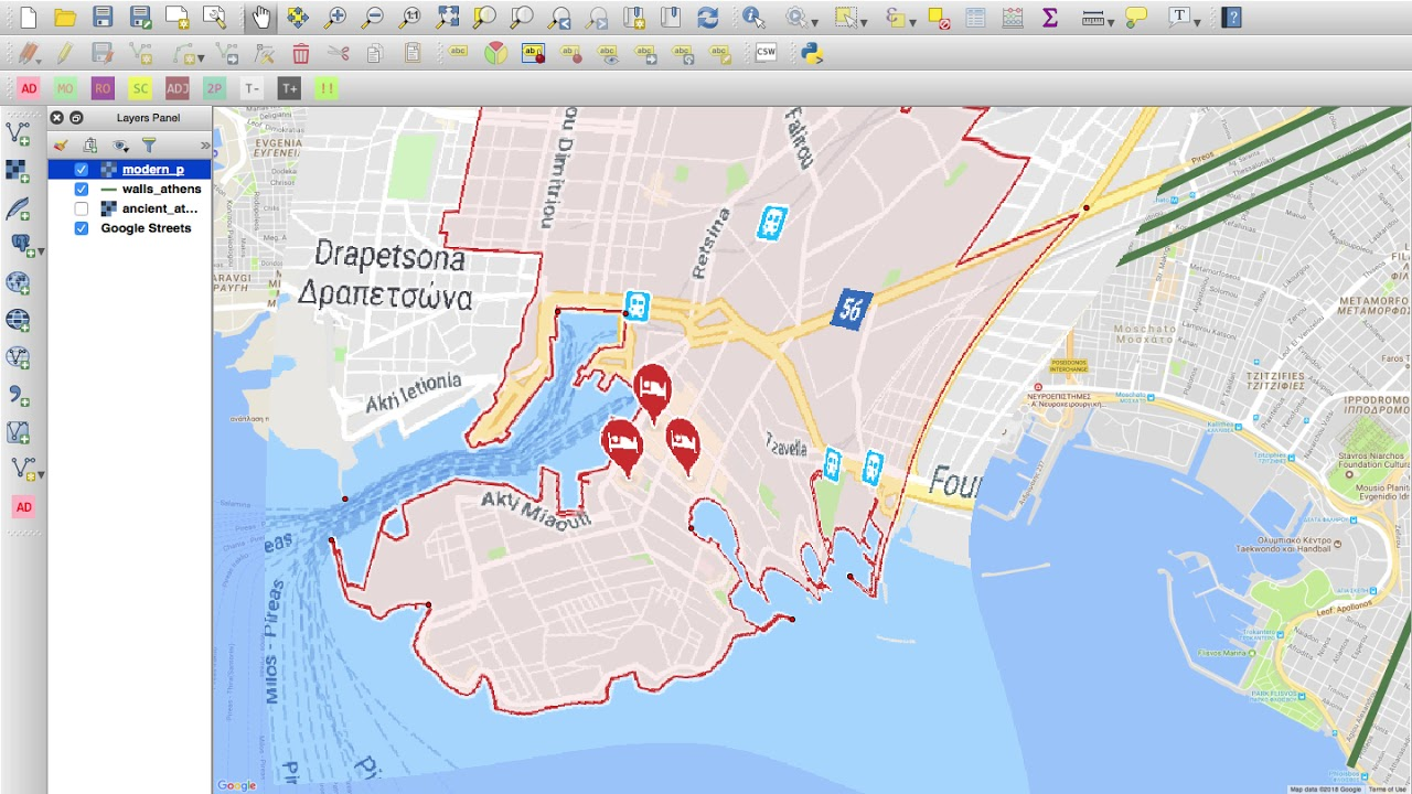Creating The Ancient Athens Map In Qgis Youtube