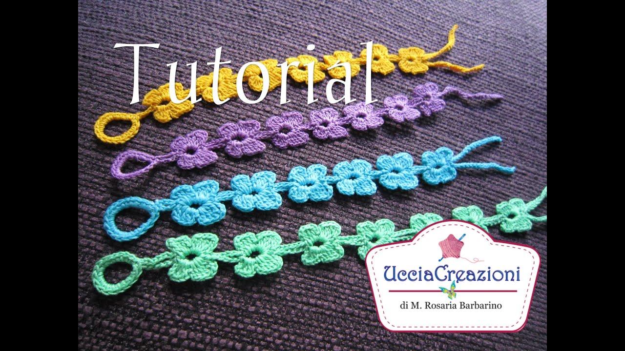 Tutorial 8,Senza Musica * Bracciali Farfalle * Simil , Cruciani Uncinetto .  Crochet Bracelets