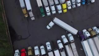 Backing fail in tight truck stop