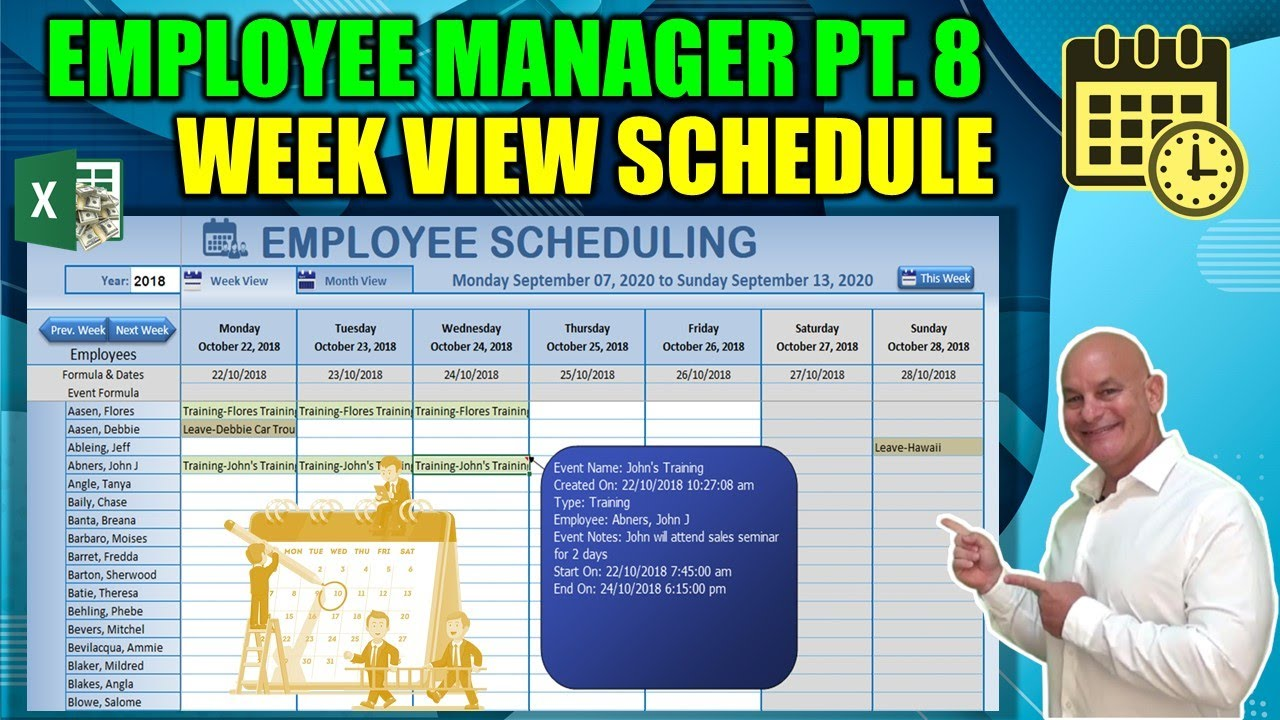 Create This Excel Single Click Week View Scheduler Today [Employee Manager  Part 8]