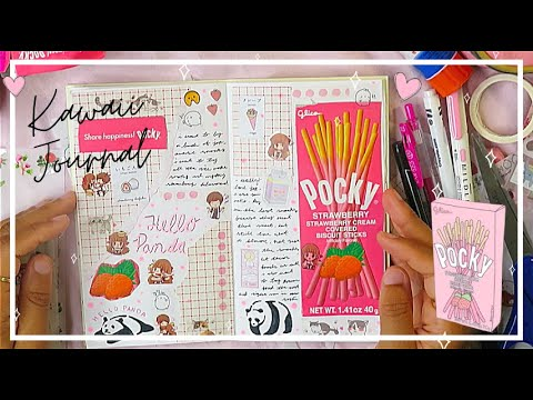 🌸 Real Time Journal With Me (KAWAII JOURNAL SPREAD) | Strawberry Pocky Japanese Snack