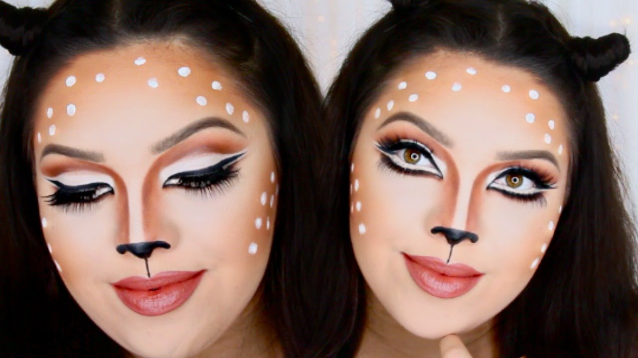 Last Minute Halloween Deer Makeup! - YouTube