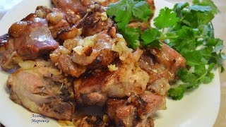 Мясо нутрии в духовке с луком и чесноком