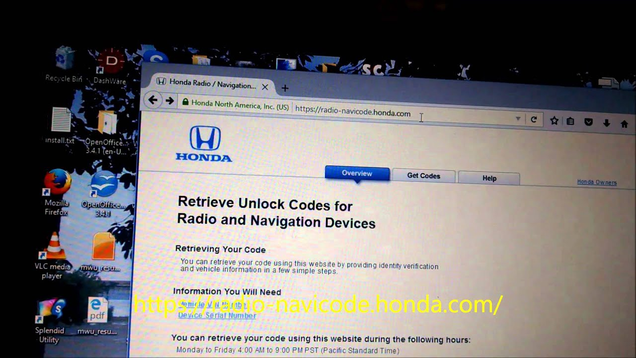 Radio Navicode Honda Com >> Honda Pilot Reenable Radio With Security Code Diy Youtube