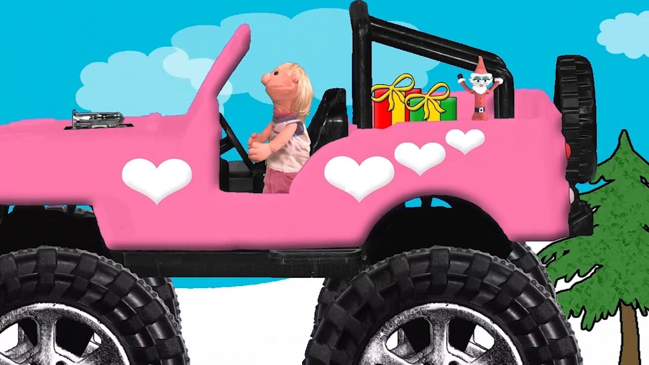 Sara And Smelf The Elf Deliver Gifts In A Pink Monster Truck Jeep Youtube