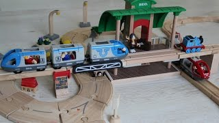 Brio And Plan City Toy Passenger Trains, Cargo Train And Bus Riding On Wooden Railway And Road...