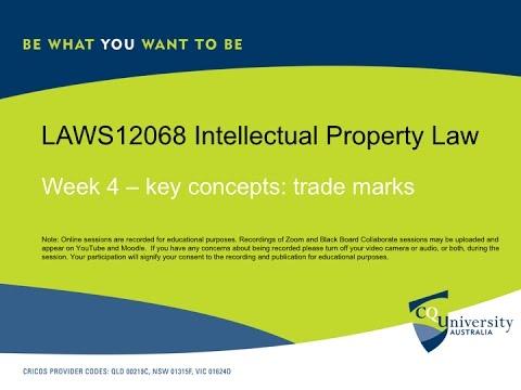 IP Law key concepts week 4 trade marks