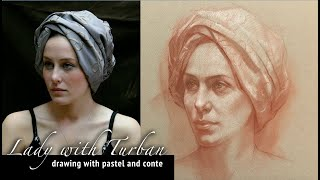 Lady with Turban - Conte Drawing