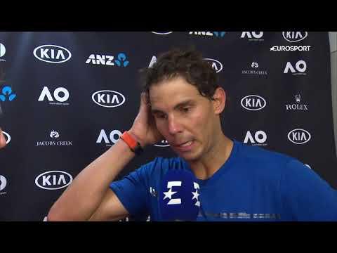 Rafael Nadal Interview for Eurosport (ES) after his practice match vs. D.Thiem at AO, 12 Jan 2018