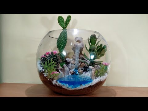 How To Make Terrarium With Waterfall In Glass Bowl