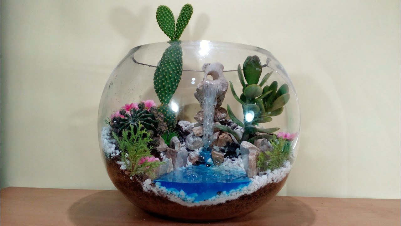 How To Make Terrarium With Waterfall In Glass Bowl Youtube