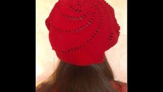 🎩Вязаная шапка крючком# knitting №1.Как связать берет крючком видео+как связать берет