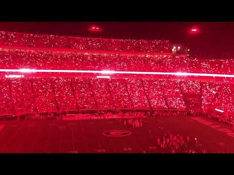 UGA Sanford Stadium Krypton Light Up Red Out vs South Carolina 9-19-2021 - #GeorgiaBulldogs