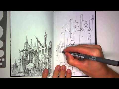 Realtime Version of Drawing in my Book #28 (Cityscape)