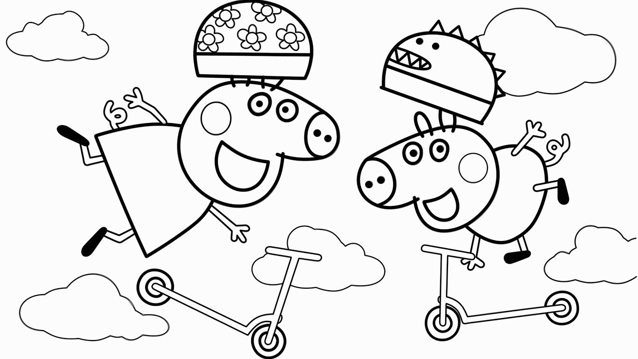 Peppa Pig & George Pig Coloring Pages & Learn Colors For Kids Drawing Art Colours YouTube