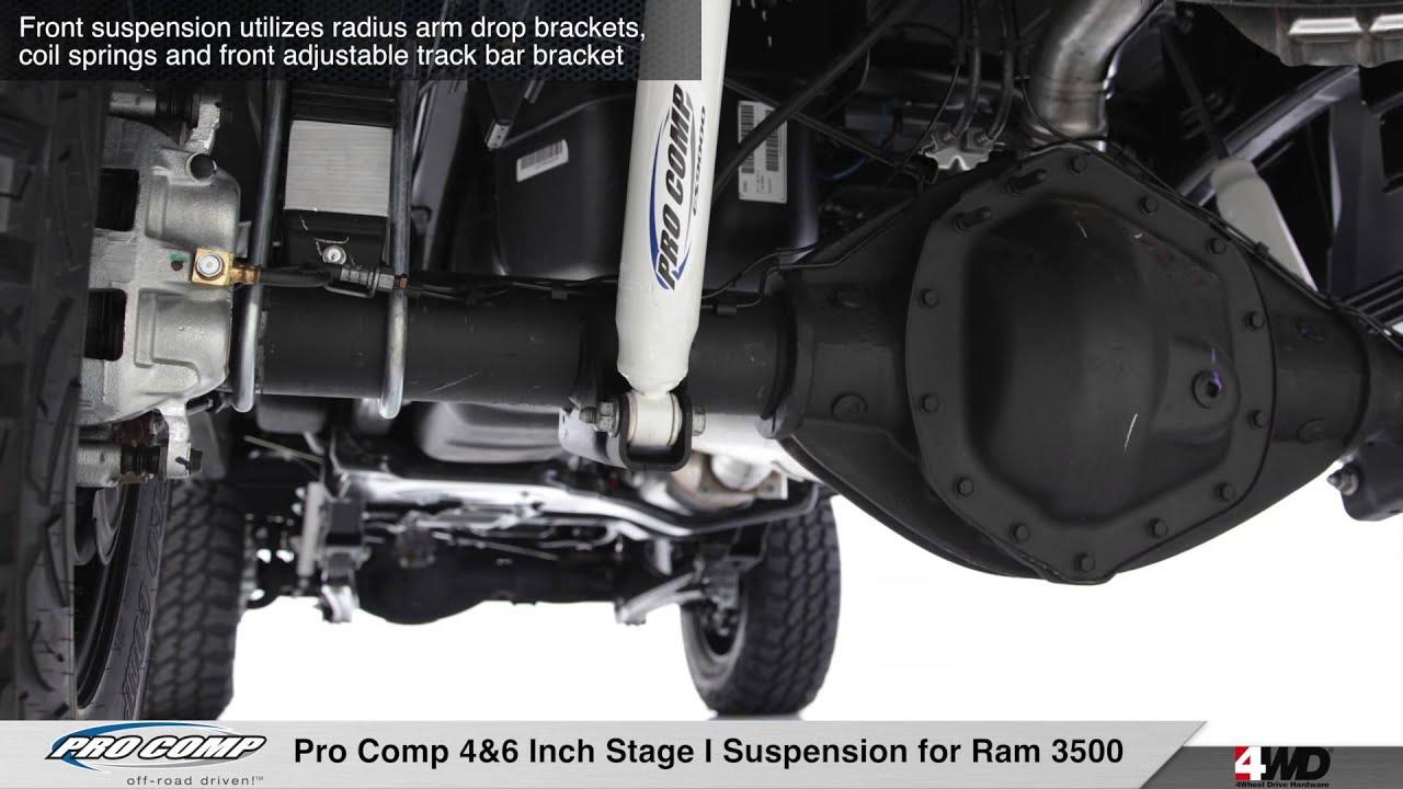 Dodge Ram 1500 Diesel >> Pro Comp 4 & 6 inch Stage I Suspension for Ram 3500 - YouTube