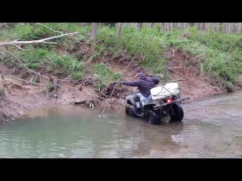 ATV Deep Muddy river crossing! 1 of 2
