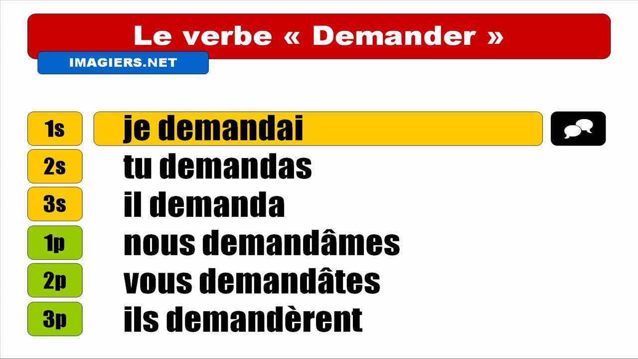 Hd Conjugaison Visuelle Demander Indicatif Passe Simple Youtube