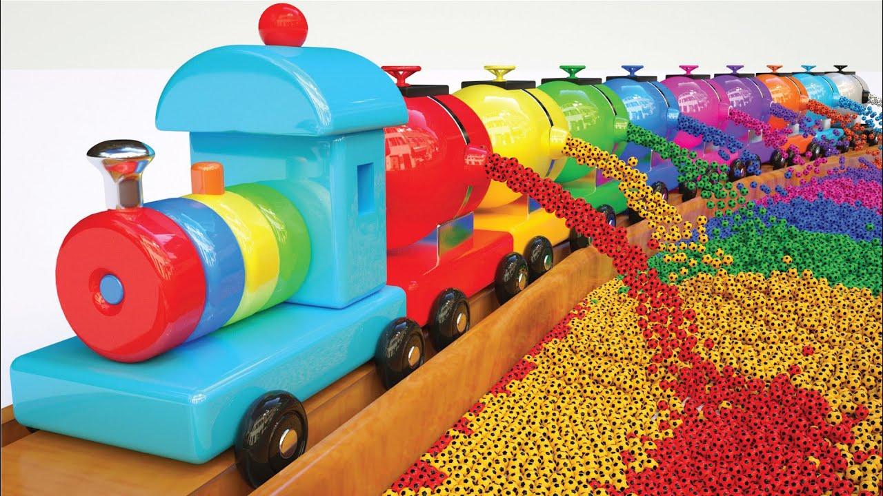 Apprendre Les Couleurs Avec Toy Train, Boules De Couleur - Collection Shapes Colors Pour Enfants