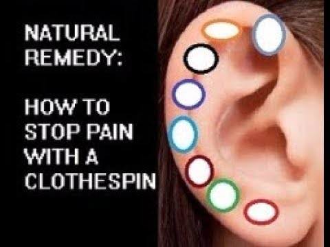 NATURAL PAIN RELIEF using CLOTHESPINS and EAR REFLEXOLOGY, sore throat, back pain, indigestion