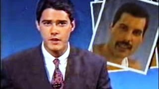Freddie Mercury - Noticia da morte no (JN Tv Globo) Jornal Nacional 25/11/1991