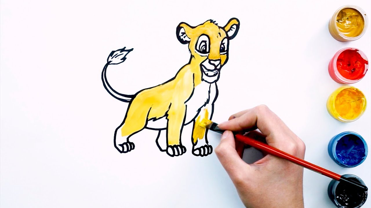 Coloring Simba & Deil | Painting for toddlers and drawing for kids